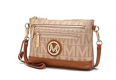 Mia K. Collection Crossbody Bags for Women - Wristlet Handbag - PU Leather Messenger Purse Beige