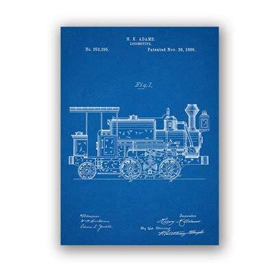 Zugingenieur Lokomotive Kunstwerk Wandkunst Fahrzeug Poster Raumdekoration Blaupause Leinwand Gemälde 20x25cm