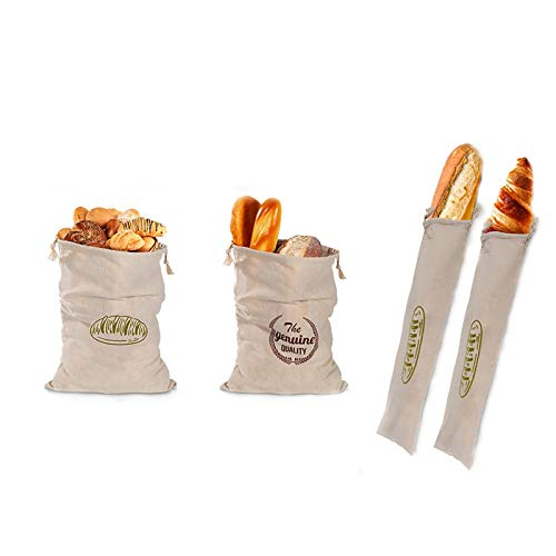 Linen Bread Bags, Pack of 4 Drawstring Bread Bag Reusable Bread Bags, Bread Storage Containers for Homemade Bread, Baguette Bread, Loaf, Ideal Gift for Bakers