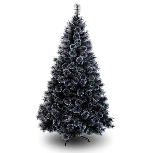 DULPLAY Negro Artificial Arbol De Navidad Premium Abeto con Bisagras Auto-propagación Soporte De Metal Árbol De Navidad Vacaciones Decoración-c 180cm(71inch)