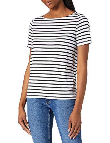 PIECES PCINGRID SS Top Camiseta, Blanco Brillante/Rayas: Negro, L para Mujer