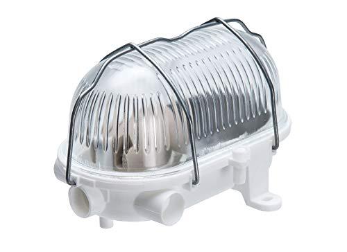 Oval 60, ES / E27, White Ceiling/Wall Bulkhead Light Lamp, IP54, Removable Steel cage, Glass Cover, OVAL-60-E27-WTGRS/Witte plafond/wand schotlichtlamp, verwijderbare stalen kooi, glazen afdekking