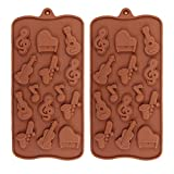 2Pcs Musical Instrument Silicone Chocolate Mold Music Note Bass Guitar Piano Saxophone Shape Candy Mini Soap Crayon Melt Mould Ice Cube Trays
