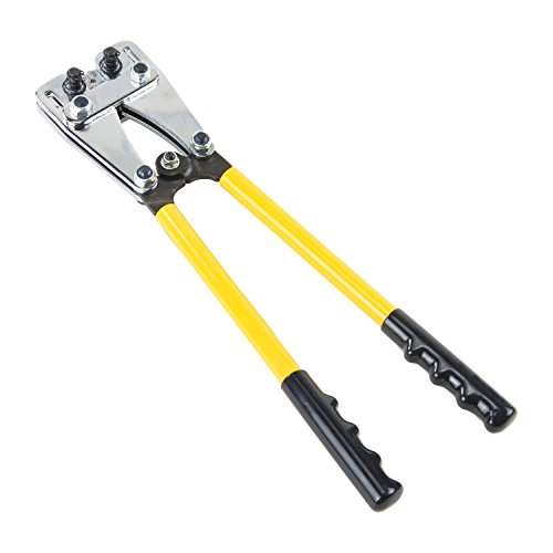Babimax Crimpzange Set 6-50mm² Kohlenstahl Kabelschuhzange Aderendhülsen Zange Lange Griffe für Elektriker Heimwerker (Gelb)