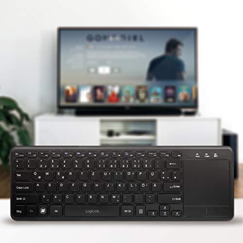 LogiLink ID0188 - Funk Tastatur mit eingebautem Touchpad, 12 praktischen Multimedia Funktionstasten und einem Schlaf-Energie-Sparmodus für PC/Windows/MacOS/Smart TV/Android Box, Schwarz