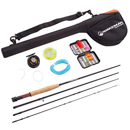 Fly Fishing Starter Set- 8' Fiberglass Rod, Aluminum Reel, Travel Bag, 12 Dry Flies & Box, 20lb...