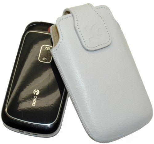 Original Suncase Tasche für Doro 6050 / Leder Etui Handytasche Ledertasche Schutzhülle Hülle Hülle / in vollnarbiges-weiss