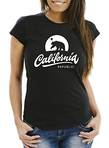 Neverless Damen T-Shirt California Republic Bear Kalifornien Bär Sommer Slim Fit schwarz XXL