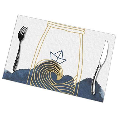 Uyikuvt Juego de 6 manteles individuales lavables para mesa de comedor, resistentes al calor, para cocina y comedor, mar embotellado