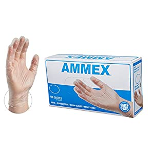 AMMEX Medical Clear Vinyl Gloves, Box of 100, 4 mil, Size Large, Latex Free, Powder Free, Disposable, Non-Sterile, VPF66100-BX