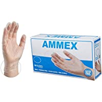 100-Pack Ammex Medical Clear Disposable Vinyl Gloves (Small)