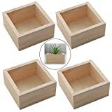 HAN SHENG 4 PCS Rustic Wooden Box Storage Organizer Craft Box for Collectibles Home Venue Decor Succulents