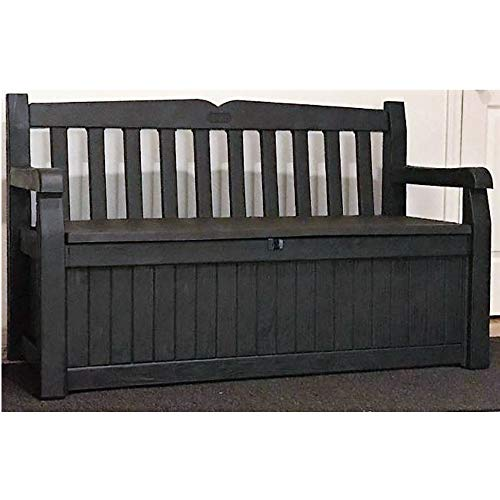 70 Gallon Deck Box Brown Resin Patio Loveseat Slatback Storage Bench Front Porch Lidded Seat Armrest Indoor Entrance Way Roomy & eBook by JEFSHOP