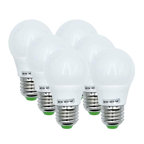 Edison Led-gloeilampen, 3 W, E27-fitting (equivalent aan 40 watt), 12 V, laagspanningslamp voor Off Grid Solar Systeemverlichting, marine, RV, binnenverlichting, camper, warmwit, 3000 K, verpakking van 6 stuks [meerweg]