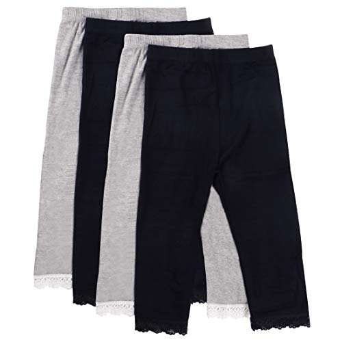 MyKazoe Girls Ultra Soft Seamless Capri Leggings with Lace Trim (Set of 4) (2T/3T, Originals (Black x 2, Grey x 2))