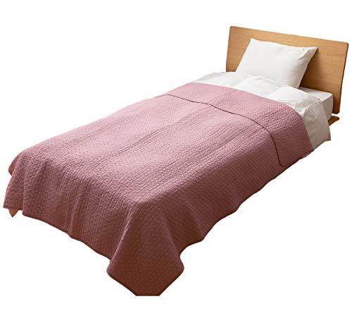 ナイスデイ マルチカバー スモーキーピンク L (200×250cm) mofua (モフア) イブル 綿100% cloud柄 キルティング 洗える 低ホルム 36204392