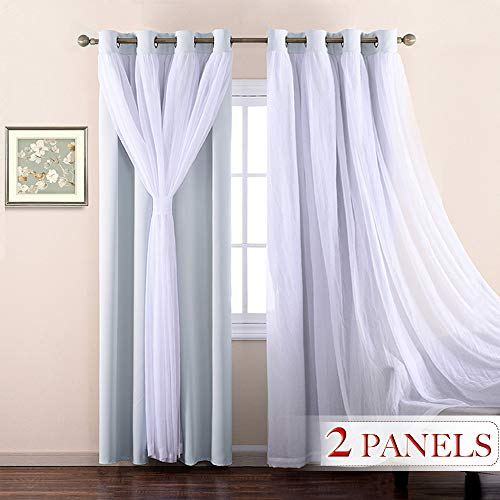 NICETOWN Double-Layer Nursery Bedroom Thermal Insulated Dressing Crushed Sheer Over Blackout Curtains for 17 inch-40 inches Width Window (1 Pair, Platinum, Tie Backs Included)