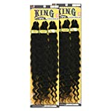 [2PACKS DEAL] Bobbi Boss King 3X Value Pre-Feathered Ocean Wave 28' Braid KINGTIPSOC28X3 with Gold Filigree Tube 3pcs (1B [Off Black])