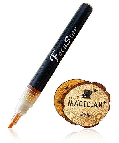 Wood Burning Pen - FocuStar Scorch Pen Marker - Chemical Wood Burning Marker for DIY Wood Projects, Round Tip and Oblique Tip - Reversible Fine Tip