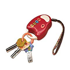 Baby you can drive My car: a realistic design on a fun set of toy keys along a functional remote with car sounds and a flashlight. Key ring holds 3 keys of different shapes and colours that swing freely. Fun for baby! Beep! Beep! With 4 fun car sound...