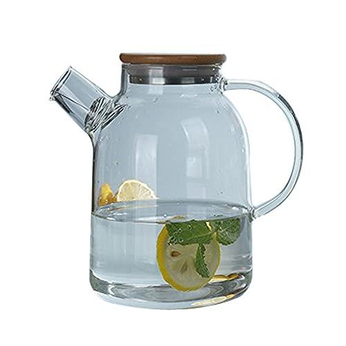 Jarras para Agua Borosilicato Jugo de Vidrio Jarra Agua fría Jarra Jarra de té Bebida Caldera Carafe Capacidad para Jugo,Bebida,Leche (Color : Clear, Size : 1600ml)