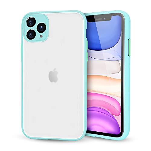 Suhctup Compatible con iPhone 12 Funda de PC Rígida Back Mate Transparente Carcasa con TPU Silicona Bumper Ultrafina Antigolpes Anti-arañazos Protección Caso,Azul Claro 1