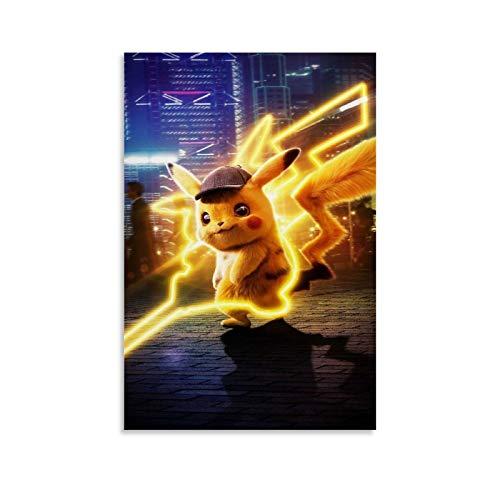 MMJH Pikachu Detective Wallpaper Poster Pintura Decorativa Lienzo Arte Pared Sala Póster Dormitorio Pintura 40x60 cm