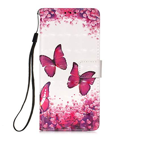 Hülle für Samsung Galaxy S21 / S30 Handyhülle Gemalt 3D PU Leder Hülle Handy Tasche Flip Wallet Hülle Cover mit Ständer Kartenfach & Magnet Schutzhülle für Galaxy S21 / S30, Roter Schmetterling