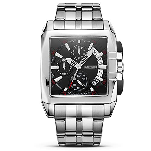 Reloj De Cuarzo para Hombres, Reloj Casual De Banda De Acero, Reloj Impermeable, Cronógrafo De Seis Manos,Negro
