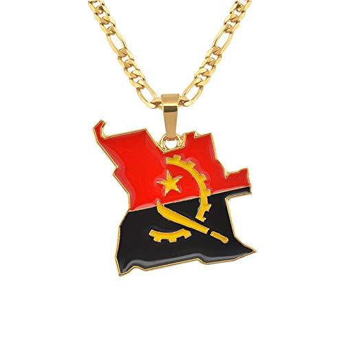 YUANYIRAN Karte Von Angola Anhänger Halsketten - Charme Ethnischen Afrika Karten Flagge Dünne Kette Halsketten, Patriotische Gold Farbe Karte Hip Hop Schmuck Für Frauen Männer Party Geschenk, 45Cm