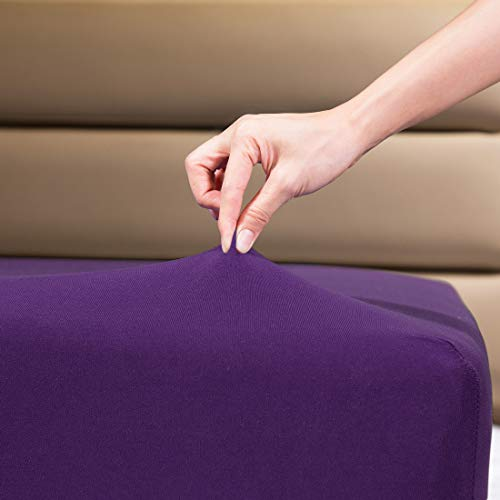 """Fitted Sheet- COSMOPLUS Twin Fitted Sheet Only(No Flat Sheet or Pillow Shams),4 Way Stretch Micro-Knit,Snug Fit,Wrinkle Free,for Standard Mattress and Air Bed Mattress from 8"""" Up to 10"""",Purple"""