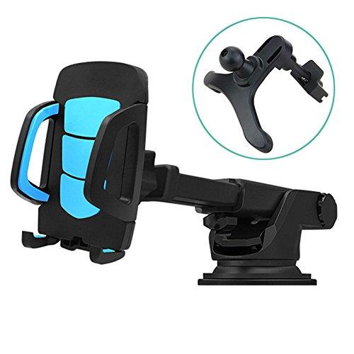 車載ホルダー,Kaweno スマホホルダー スマホスタンド 携帯 車載ホルダー スマートフォン 吸盤粘着/エアコン吹き出し口用/クリップ/伸縮アーム/取り付け簡単/360度回転可能/片手操作/多機種対応 多機能両用(ブラック)