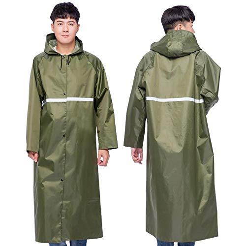 llzshoutao - Chubasquero portátil impermeable y reutilizable con capucha y mangas, para adultos, hombres y mujeres, camping, senderismo, equipamiento de exterior, Hombre, color Verde militar., tamaño XXXL