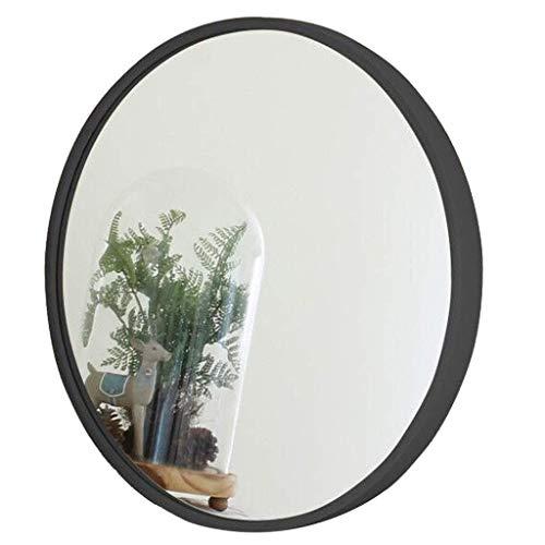 Pkfinrd Moderno sólido Hub de Madera Espejo de Pared de Cristal Círculo Contemporáneo Calidad Espejo for entradas, baños, Salas de Estar y más Adecuado for la decoración del hogar