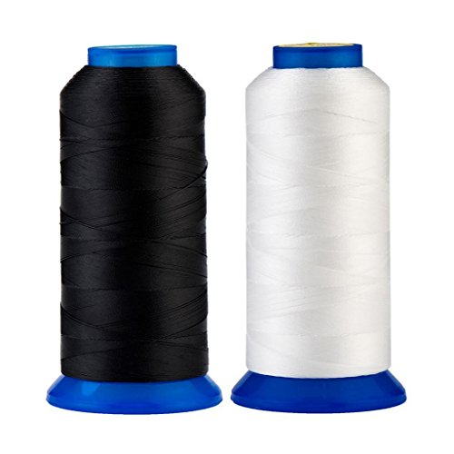 Selric [3000Yards/Black+White] Pack of 2 UV Resistant High Strength Polyester Thread #69 T70 Size 210D/3 for Upholstery, Outdoor Market, Drapery, Beading, Purses, Leather