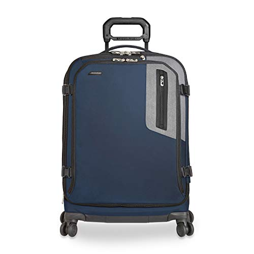 Briggs & Riley BRX-Explore Softside Expandable Medium Checked Spinner Luggage, Blue, 26-Inch