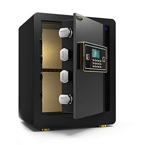 SMX Safe Huishoudelijke Kleine Vingerafdruk Wachtwoord All-steel Anti-diefstal Muur nachtkastje Invisible Mini Safe Box All-around Elektronische Single Door, Zwart