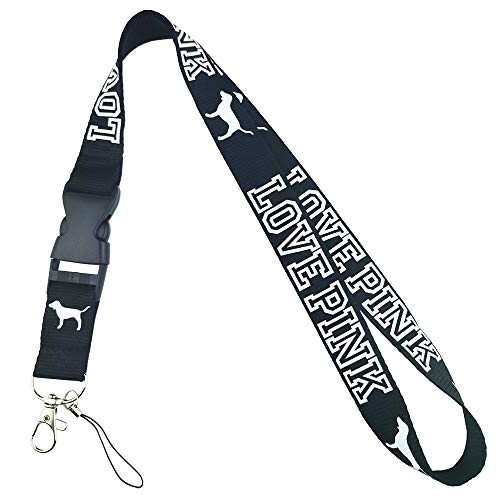 Lanyard Black Neck Strap Keychain ID Holder Keyring for Keys Phones Bags Keys Cell Phones Bags Accessories-Detachable Lanyard with Quick Release...