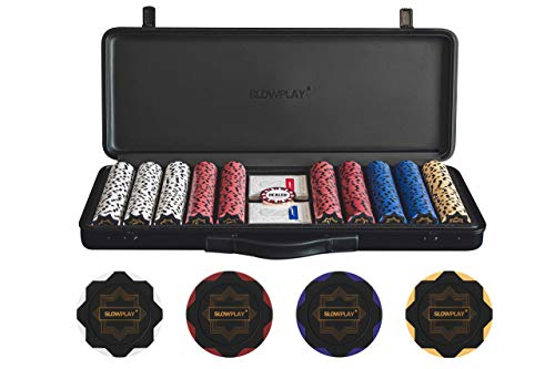 SLOWPLAY Nash 14 Gram Clay Poker Chips Set for Texas Hold'em, 500 PCS [Blank Chips] Features a high-end Carrying case with Leather Interior Design and German Polycarbonate Shell