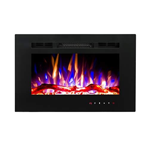 Art Flame, Chimenea eléctrica empotrada Aladin, 1500 W, Calefacción de superficie 15...