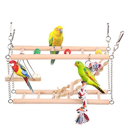 Parrot Parrot Pájaro Perca de Madera Ejercicio Gimnasio con Escalera Swing, Birdcage Play Stand para periquito…
