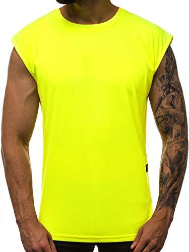 OZONEE Herren Tank Top Tanktop Tankshirt Ärmellos Bodybuilding Shirt Unterhemd T-Shirt Muskelshirt Achselshirt Ärmellose Training Gym Sport Fitness Freizeit Rundhals 777/5672BO GELB-NEON M