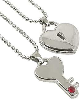 Utkarsh Valentine's Day Special Metal Heart Design Lock And Key Romantic Keepsake Padlock Diamond Nug Key Lock Love Couple...