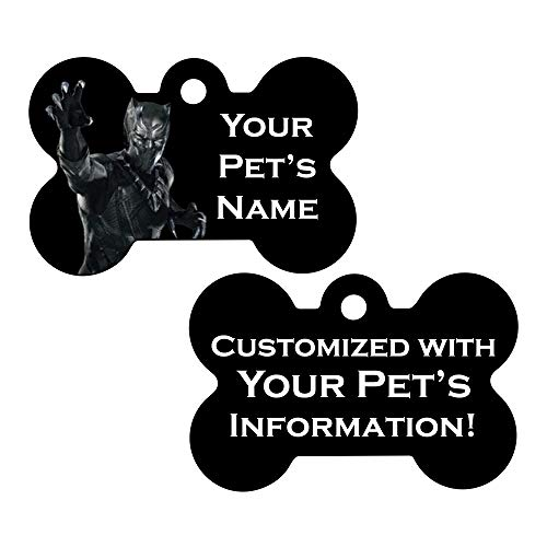 Double Sided Pet Id Dog Tags | Personalized for Your Pet (Black Panther, Bone Shaped)