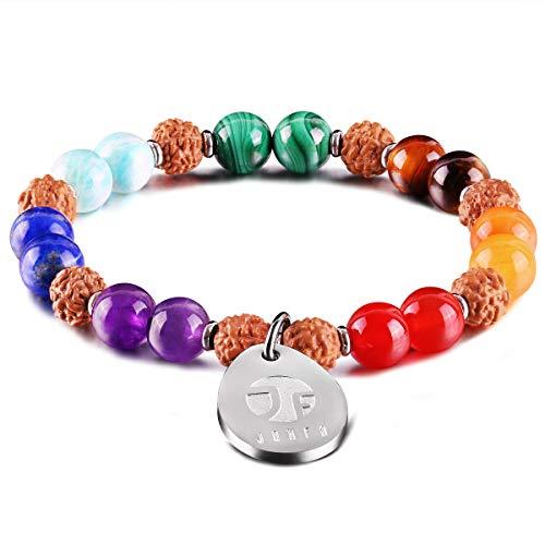 JOXFA 7 Chakra Bracelet for Women Men, Natural Gem Stone Essential Oil Diffuser Aromatherapy Bracelet 8MM Rudraksha Mala Beads Yoga Meditation Rosary Beads Elastic Beaded Stretch Bracelets