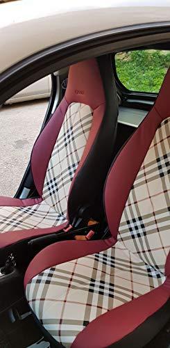 Top Car Athens   Ecopelle (Marrone, Beige, Grigio) e Sintetica (Nero)   Superficie Posteriore Due Auto Coprisedili   Compatibile con Smart FORTWO (451)