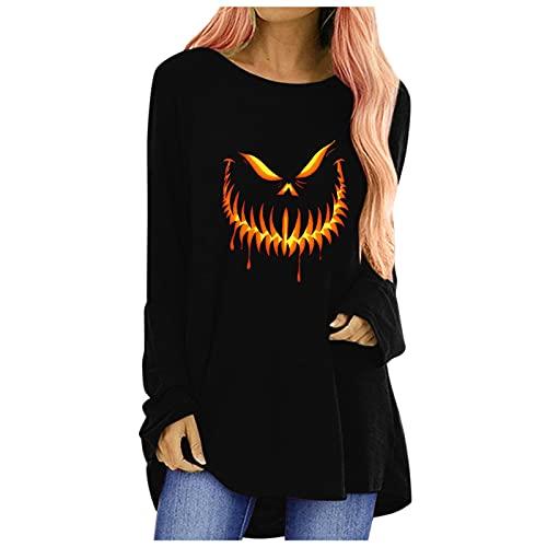 T-Shirt Long Femme Haut à Manches Longues Halloween Haut DéContracté Imprimé à Manches Longues ModèLe De DéMon Chemise Casual Col V Tee Couleur Unie Blouse Haut Chic