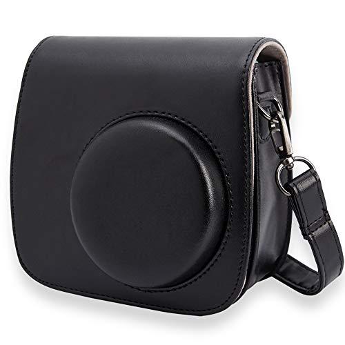 Annle Tasche für Fujifilm Instax Mini 8 / Mini 9 Sofortbildkamera aus Weichem Kunstleder mit Schulterriemen & Tasche (Schwarz A)