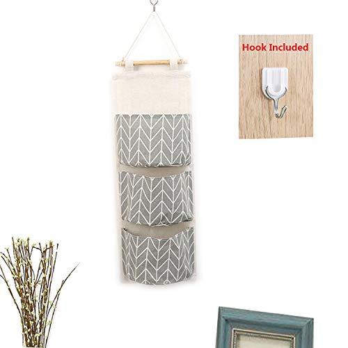 Portaoggetti organizer da appendere alla porta, con 3 tasche per riporre oggetti, tessuto in lino, per camera da letto, cucina, bagno Grey
