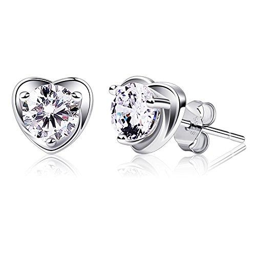B.Catcher orecchini a perno cuore in argento 925 zirconi cuore orecchini